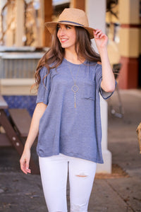 TELL ME ABOUT IT COLD SHOULDER POCKET TEE-NAVY - Infinity Raine
