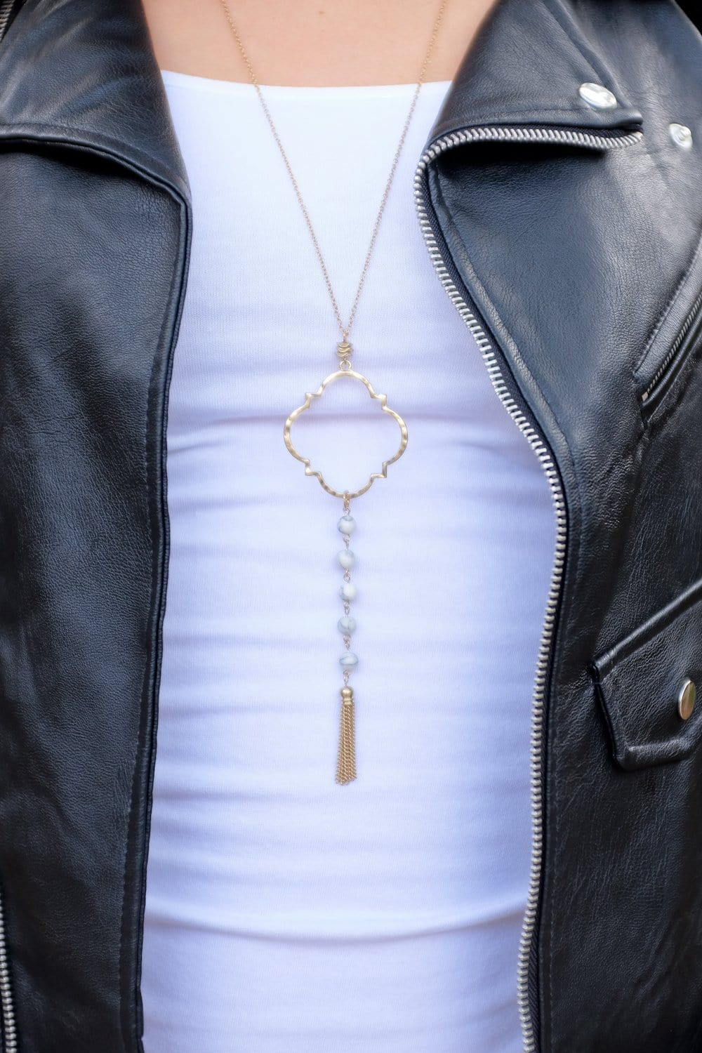 LITTLEST THING TASSEL NECKLACE-GOLD/WHITE MARBLE - Infinity Raine