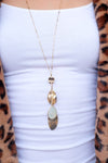BE FABULOUS GOLD DISC NECKLACE-GOLD/NATURAL GEMSTONE - Infinity Raine