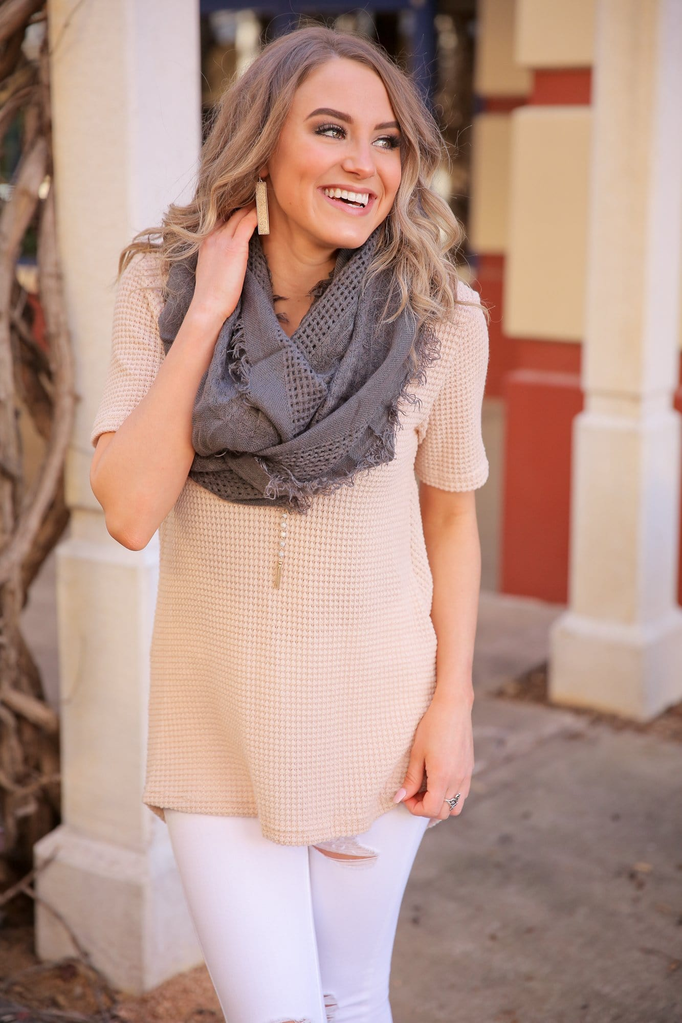 INFINITE OPTIONS SLOUCHY OVERSIZED YARN INFINITY SCARF-BLACK, CHARCOAL AND TAN - Infinity Raine