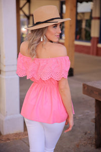 THE PERFECT OCCASION EYELET TOP-PINK PEACH - Infinity Raine