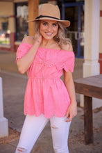 Load image into Gallery viewer, THE PERFECT OCCASION EYELET TOP-PINK PEACH - Infinity Raine