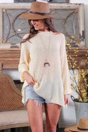 HERE TO STAY CABLE KNIT CUT OUT SWEATER-CREAM - Infinity Raine