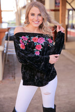 Load image into Gallery viewer, FOREVER FUNKY OFF SHOULDER VELVET TOP-BLACK - Infinity Raine