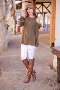 IT'S WHAT YOU NEED COLD SHOULDER BOW TIE TOP-OLIVE - Infinity Raine