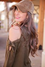 Load image into Gallery viewer, IT'S WHAT YOU NEED COLD SHOULDER BOW TIE TOP-OLIVE - Infinity Raine
