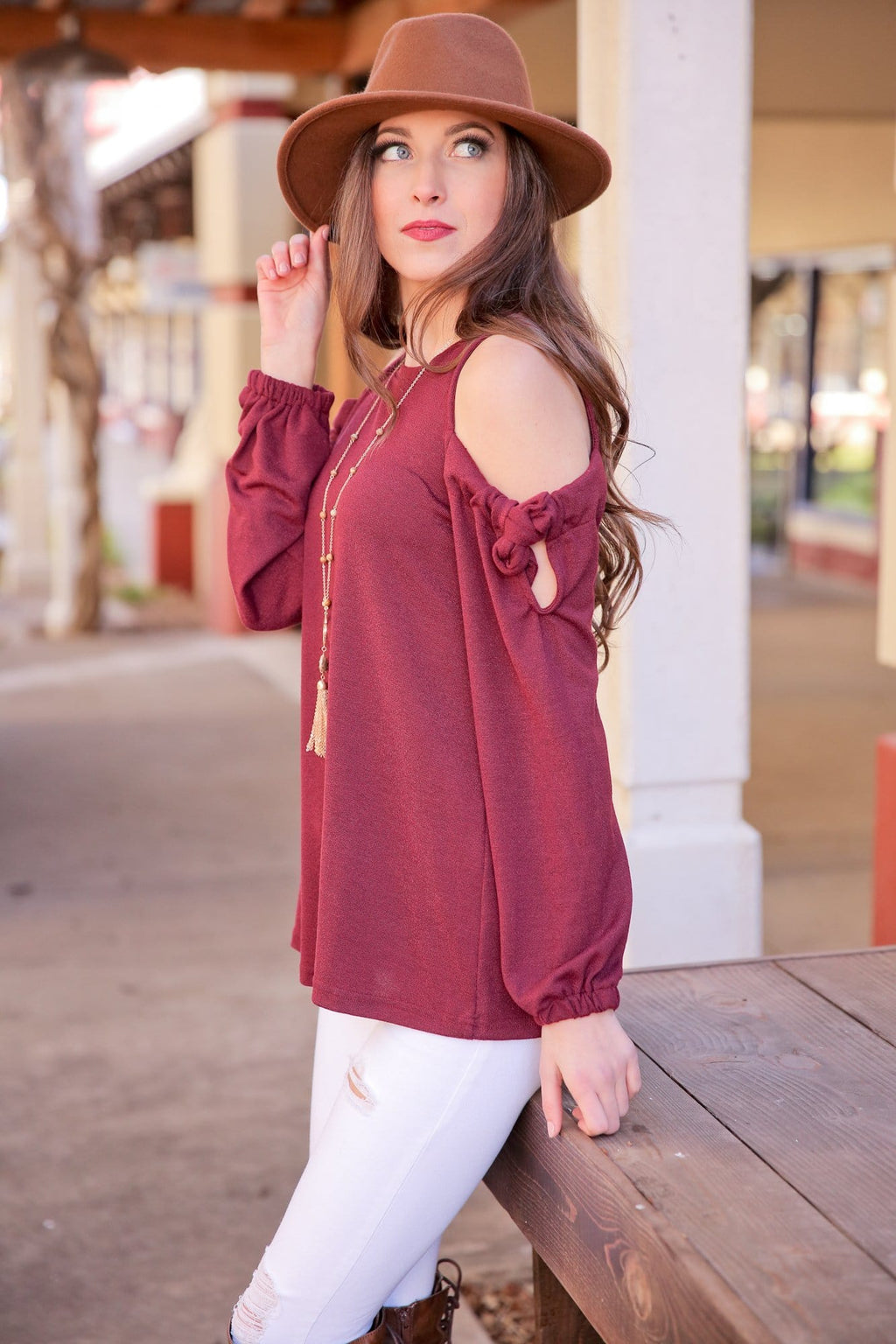 IT'S WHAT YOU NEED COLD SHOULDER BOW TIE TOP-WINE - Infinity Raine