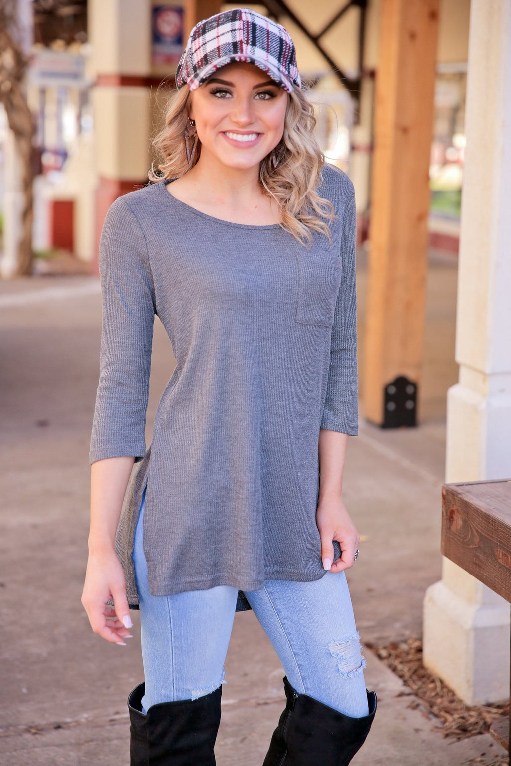 DOING WHAT I WANT LONG SLEEVE WAFFLE KNIT TUNIC-CHARCOAL - Infinity Raine
