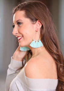 ISLAND BREEZE TASSEL HOOP EARRINGS-SEAFOAM - Infinity Raine