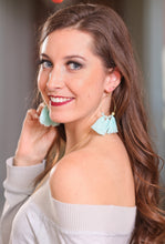 Load image into Gallery viewer, ISLAND BREEZE TASSEL HOOP EARRINGS-SEAFOAM - Infinity Raine