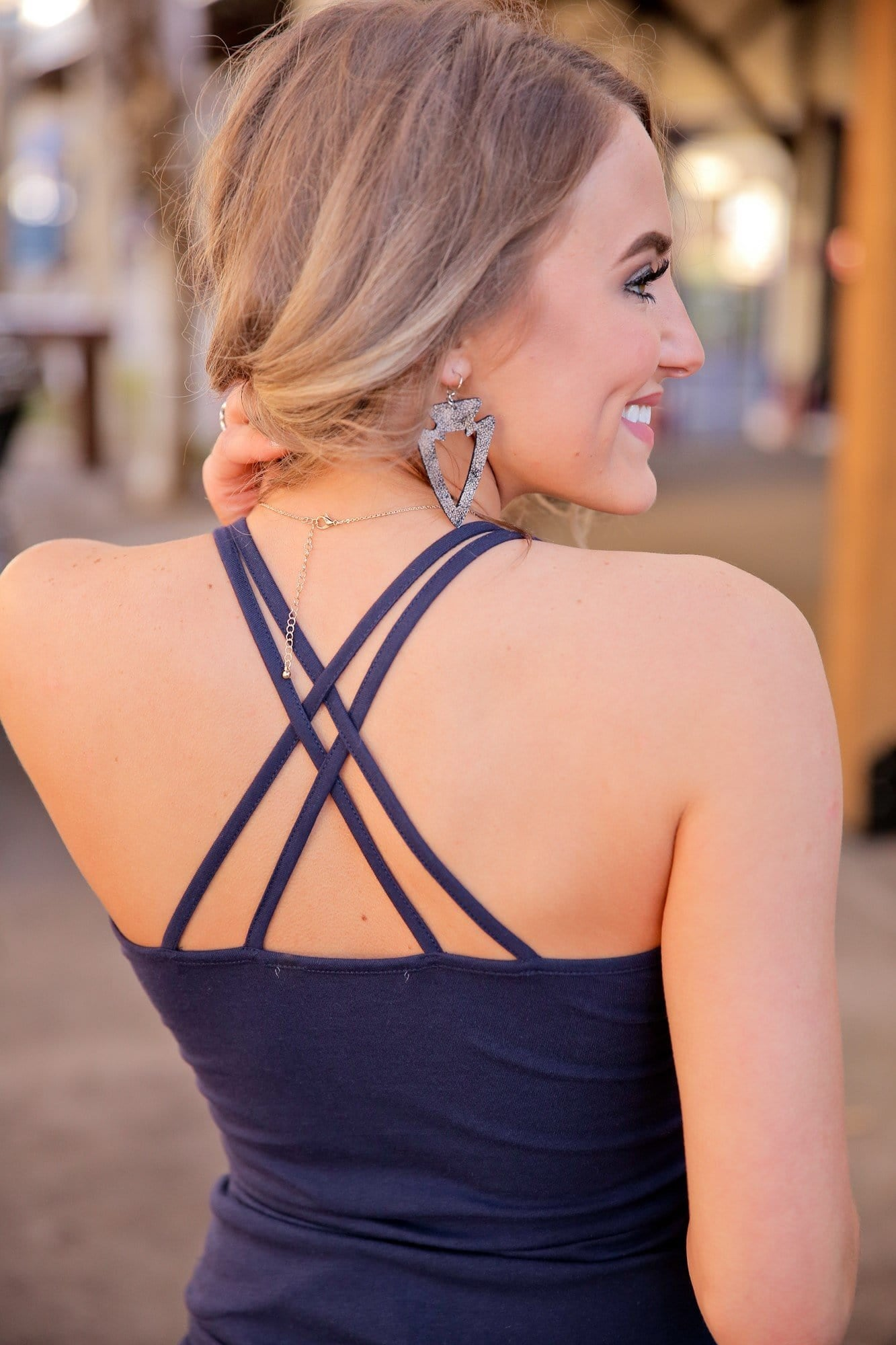 THE BASIC CAMI V-NECK W/DOUBLE CROSS STRAP TOP-NAVY - Infinity Raine