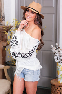 DANGEROUSLY CUTE WAFFLE KNIT TOP W/ANIMAL PRINT SLEEVES-WHITE - Infinity Raine