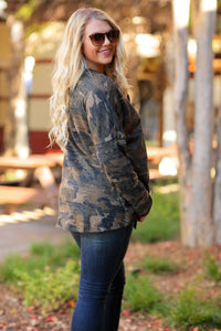 LIVE YOUR BEST LIFE BUTTON UP TIE FRONT V-NECK TOP-CAMO-PLUS - Infinity Raine