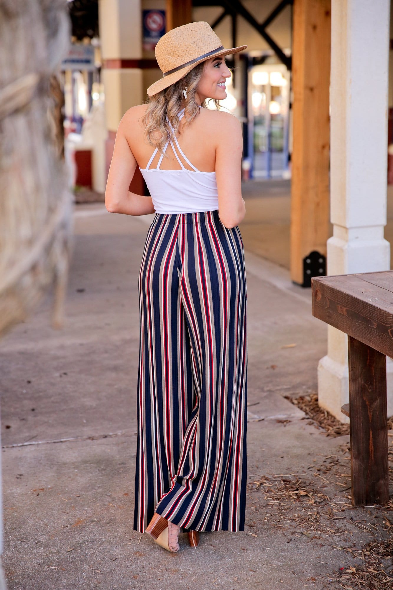 ON MY WAY PLEATED MULTI COLOR STRIPED WIDE LEG PANTS - Infinity Raine