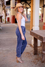 Load image into Gallery viewer, DENIM ACID WASH ACTIVE JOGGER W/POCKETS-NAVY - Infinity Raine