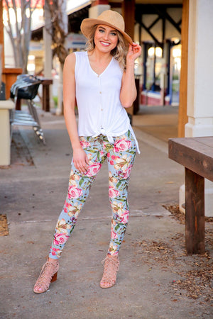 FLORAL KNIT LEGGINGS-BLUE - Infinity Raine