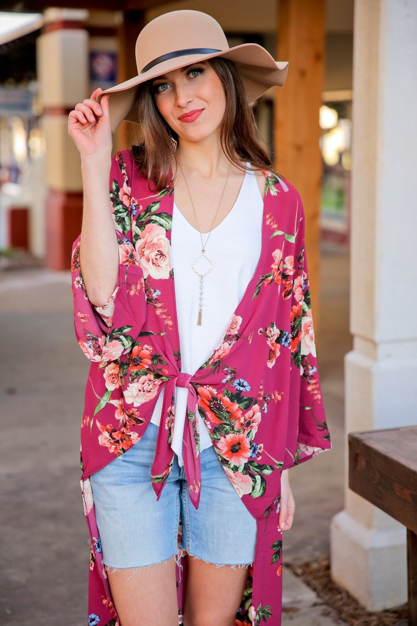 BLOOMING BEAUTY FRONT TIE FLORAL LONG CARDIGAN-BURGUNDY - Infinity Raine