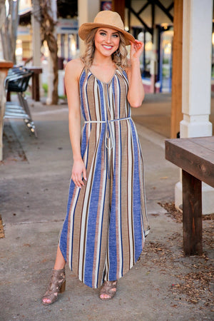 STAY IN THE LINES STRIPED SLEEVLESS JUMPSUIT W/SELF TIE BELT-NAVY - Infinity Raine