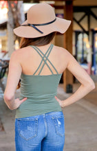 Load image into Gallery viewer, THE BASIC CAMI V-NECK W/DOUBLE CROSS STRAP TOP-OLIVE - Infinity Raine