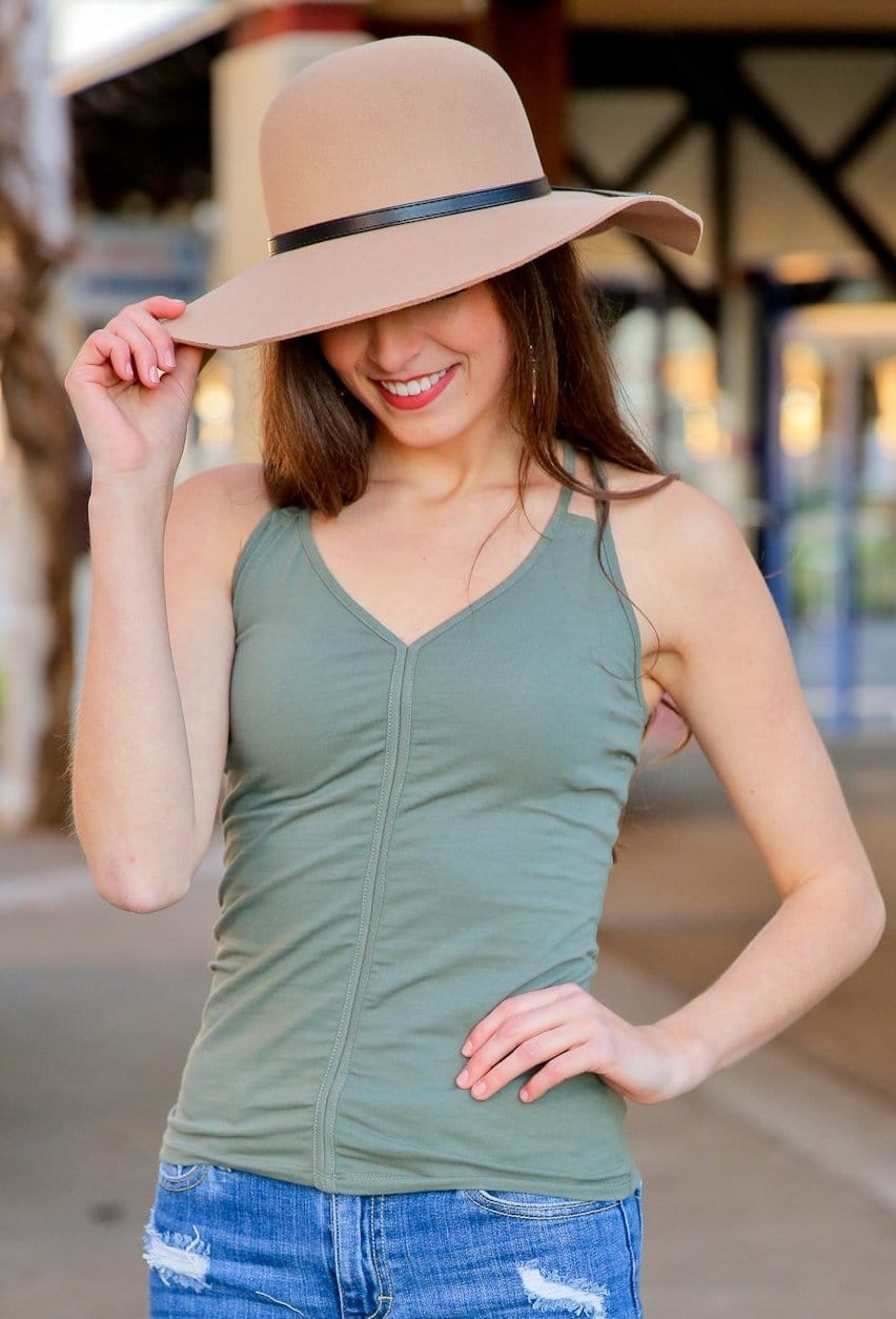 THE BASIC CAMI V-NECK W/DOUBLE CROSS STRAP TOP-OLIVE - Infinity Raine