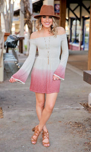 HOLY SMOCKED DIP-DYE BELL SLEEVE MINI DRESS-BEIGE - Infinity Raine