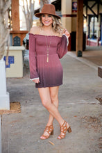 Load image into Gallery viewer, HOLY SMOCKED DIP-DYE BELL SLEEVE MINI DRESS-MAUVE - Infinity Raine