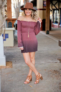 HOLY SMOCKED DIP-DYE BELL SLEEVE MINI DRESS-MAUVE - Infinity Raine