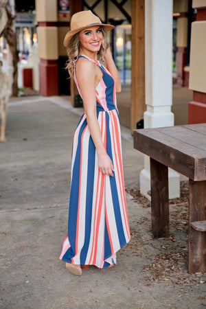 FINE LINE HI/LO MAXI STRIPED DRESS-ORANGE/NAVY - Infinity Raine