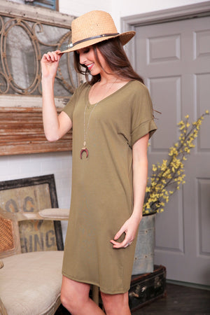 MY KIND OF DAY CUFFED SLEEVE V-NECK DRESS-OLIVE - Infinity Raine
