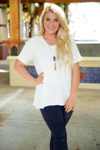 Load image into Gallery viewer, WON'T STRIKE OUT V-NECK TEE-IVORY - Infinity Raine