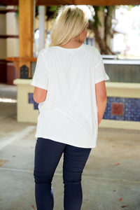 WON'T STRIKE OUT V-NECK TEE-IVORY - Infinity Raine