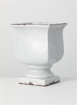 CREAM DISTRESSED CERAMIC URN - Infinity Raine