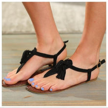 Load image into Gallery viewer, TANAYA TASSEL SANDAL-BLACK - Infinity Raine