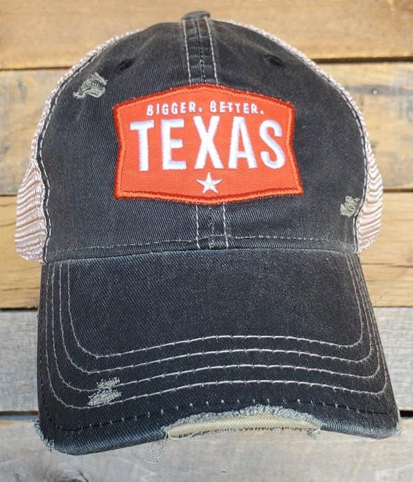 BIGGER. BETTER. TEXAS DISTRESSED BASEBALL HAT-BLK - Infinity Raine