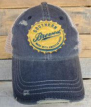 Load image into Gallery viewer, SOUTHERN BREWED DISTRESSED BASEBALL HAT-NAVY - Infinity Raine