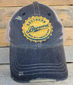 SOUTHERN BREWED DISTRESSED BASEBALL HAT-NAVY - Infinity Raine