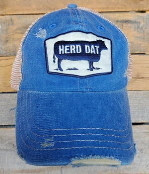 HERD DAT DISTRESSED BASEBALL HAT-ROYAL BLUE - Infinity Raine