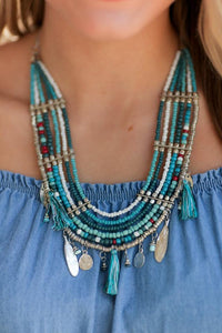 YOUR MOROCCAN ME CRAZY LAYERED BEADED TASSEL NECKLACE-TURQUOISE - Infinity Raine