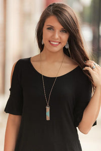 FLIP THE SWITCH DANGLE PENDANT NECKLACE SET-GOLD/MINT - Infinity Raine