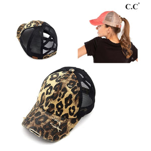 MESSY HAIR DONT CARE  PONY TAIL CAP- LEOPARD - Infinity Raine