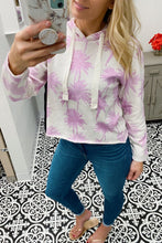 Load image into Gallery viewer, PALM BEACH PULLOVER CROPPED HOODIE-PURPLE/IVORY - Infinity Raine