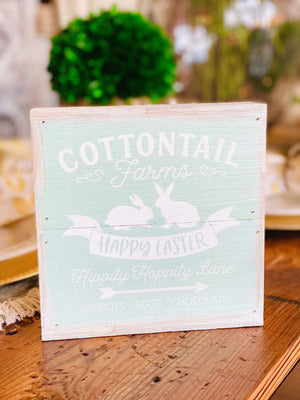 Cottontail Farm, Happy Easter Wooden Box Sign-Mint - Infinity Raine