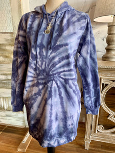 NO COMMENT TIE DYE SOFT HOODIE DRESS-BLUE/IVORY - Infinity Raine