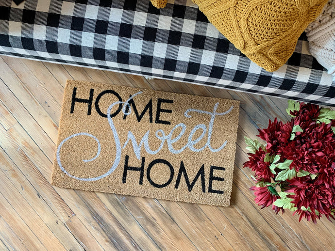 HOME SWEET HOME DOORMAT-BLACK AND WHITE - Infinity Raine