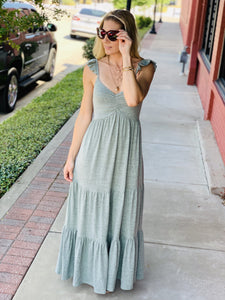 STILL THE ONE TIERED MAXI DRESS-SAGE - Infinity Raine