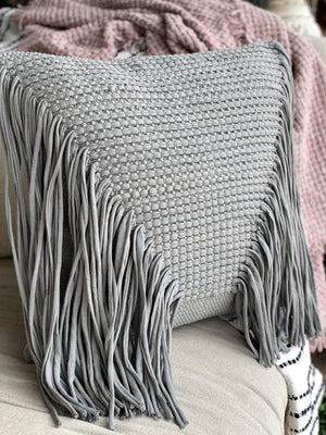Taking All The Sass I Can Get Fringe Pillow-Gray - Infinity Raine