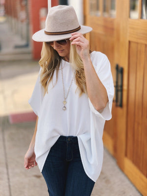 FROM DAY TO NIGHT OVERSIZED V-NECK TUNIC-IVORY - Infinity Raine