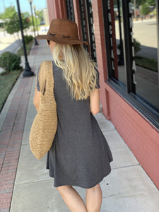 MY EVERYDAY T-SHIRT DRESS-CHARCOAL - Infinity Raine