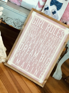 GIRL RULES DISTRESSED WOODEN SIGN-PINK - Infinity Raine