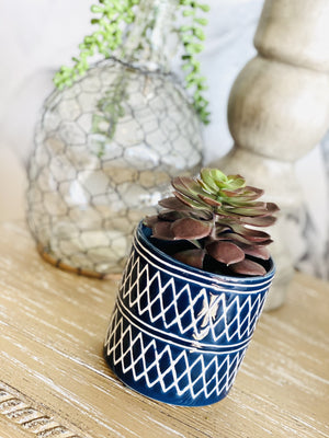 PLANT LOVER GEOMETRIC CERAMIC POT-NAVY - Infinity Raine